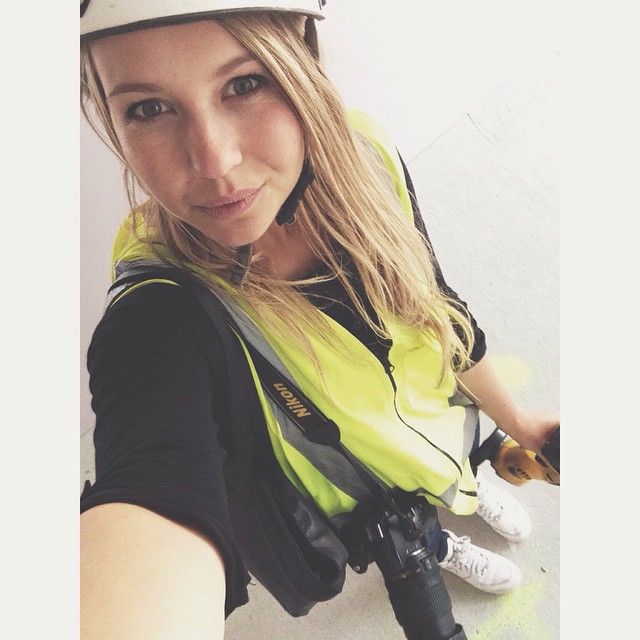 Blonde power on construction site! #photoshoot #workatheight #hiviz #helmet #blonde #czechgirl #workhard #newzealand #christchurch #safetyfirst #constructionsite #building #builders #nikon