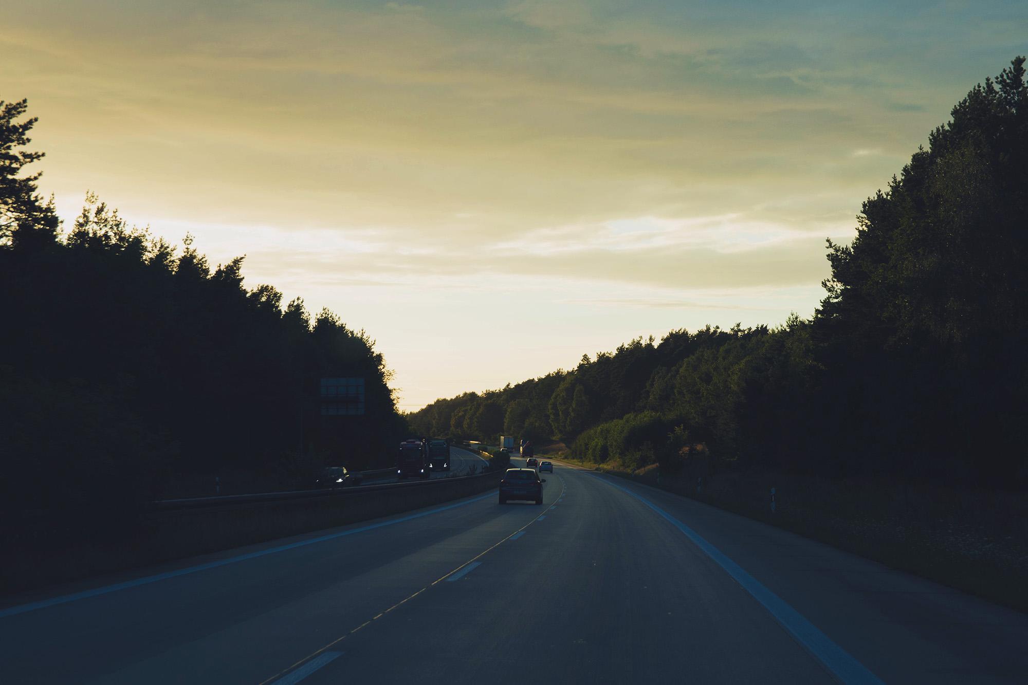 Germany motorway sunset